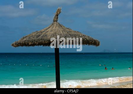 Beach near  Riu-Hotel, Santa Maria, Island Sal, Cape Verde Islands, Africa - Stock Photo