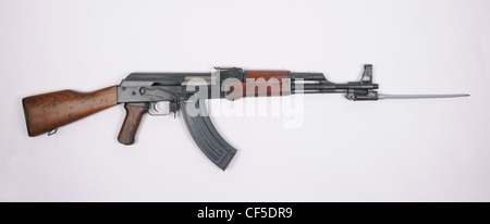 Chinese Type 56 rifle. Based on the stamped receiver Russian AKM, with integral folding bayonet. - Stock Photo