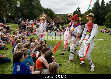 morris dancing at Weald & Downland Open Air Museum Singleton West Sussex august 2008 - Stock Photo
