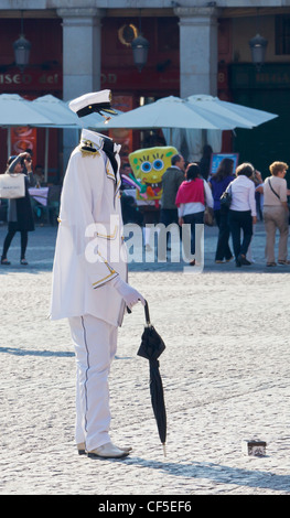 Madrid, Spain. Busker in Plaza Mayor dressed as the Invisible Man. - Stock Photo