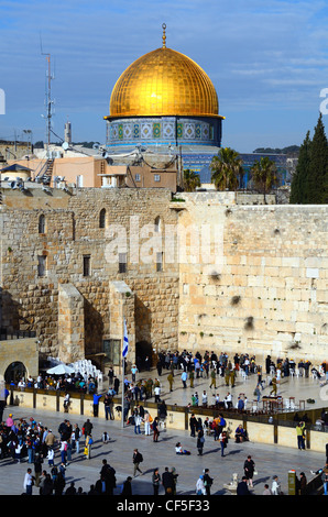 The Dome of the Rock and the Western Wall, a famed Islamic and Judaic holy site in Jerusalem, Israel. - Stock Photo
