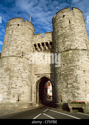 The West Gate, completed in 1380, is the only survivor of the seven gates of the Medieval town. Now a museum of - Stock Photo