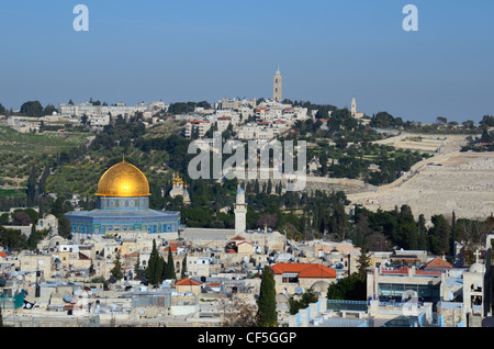Landmarks such as Dome of the Rock in the Old City of Jerusalem, Israel. - Stock Photo