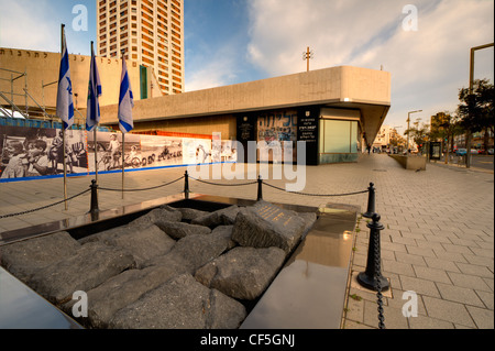 Yitzhak Rabin Memorial at Tel Aviv City Hall near Rabin Square marking the site of his assassination. - Stock Photo