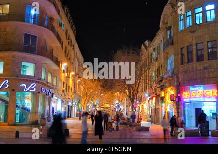 Ben Yehuda Street, the main nightlife and tourism destination in Jerusalem, Israel. - Stock Photo