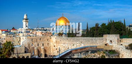 Jerusalem, Israel panorama cityscape of the old city. - Stock Photo
