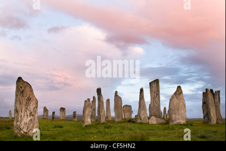 The Callanish standing stones at dawn on the Isle of Lewis. - Stock Photo
