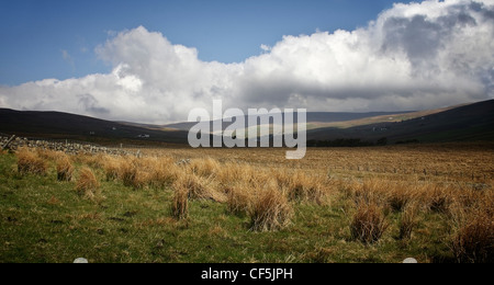 Panoramic of the Durham Dales including moorland, valleys, hills and mountains including Teesdale and Weardale in - Stock Photo