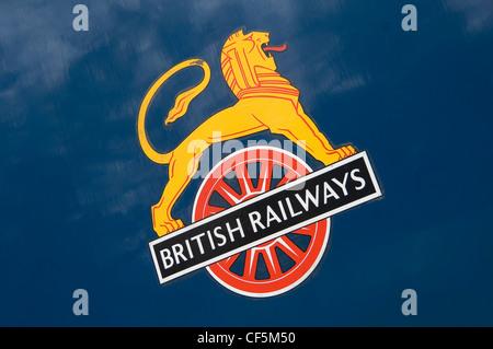 British Railways sign on the steam locomotive Sir Nigel Gresley. - Stock Photo