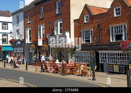 Ye Oldest Chemist Shoppe in England, now a tea room and restaurant in Market Place, Knaresborough. - Stock Photo