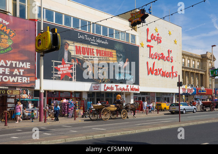 Horse and carriage outside Louis Tussauds Waxworks on the Golden Mile in Blackpool. - Stock Photo