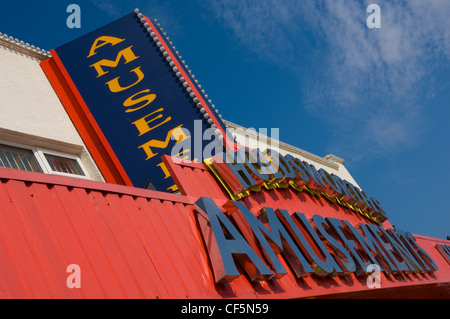 Holdsworths Amusements signs on the seafront at Filey. - Stock Photo