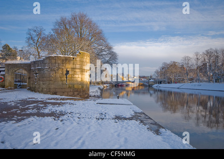 View from the Water Tower and Riverside Walk along the River Ouse towards Lendal Bridge in winter. - Stock Photo