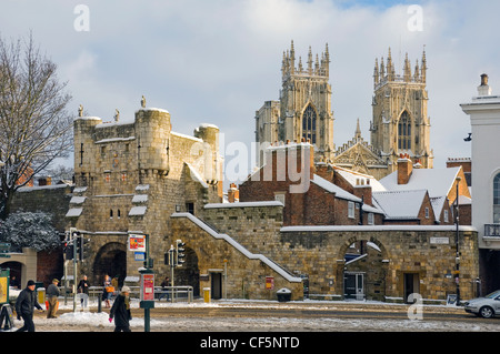 Bootham Bar and York Minster from Exhibition Square in winter. - Stock Photo