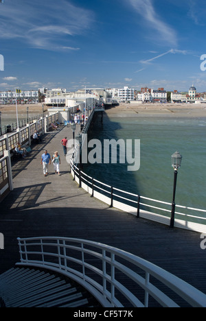 View from the southern end of Worthing Pier towards the town of Worthing. - Stock Photo