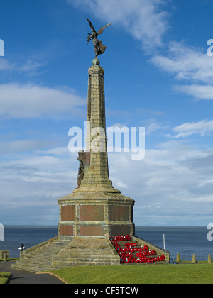 War memorial in the grounds of Aberystwyth Castle ruins.