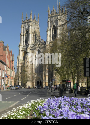 The West front of York Minster from Duncombe Place. - Stock Photo
