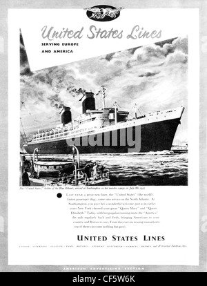 United States Lines cruise ship travel advert from 1953 - Stock Photo