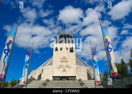 The exterior of Liverpool's Roman Catholic Metropolitan Cathedral dedicated to Christ the King. - Stock Photo