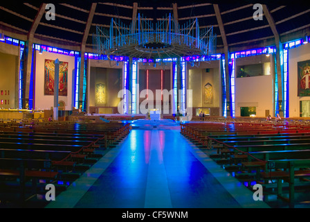 The Nave inside Liverpool's Roman Catholic Metropolitan Cathedral. - Stock Photo