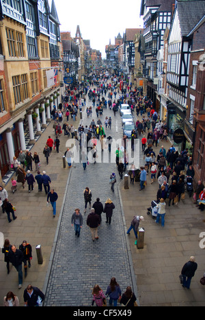 A throng of people shopping in Eastgate Street. - Stock Photo