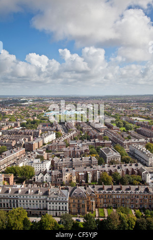 Aerial view over the city of Liverpool. - Stock Photo