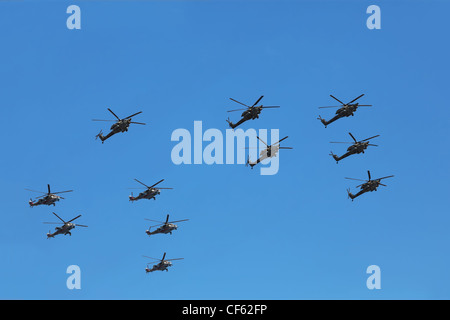MOSCOW MAY 9 Helicopters Mi-24 Mi-28n parade honor Great Patriotic War victory May 9 2010 Moscow Russia War portion - Stock Photo