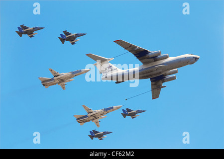 MOSCOW MAY 9 Parade honor Great Patriotic War victory plane tanker accompanied by group fighters May 9 2010 Moscow - Stock Photo