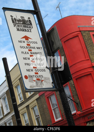 Portobello Market sign on a post in Portobello Road opposite brightly painted Victorian terrace properties. - Stock Photo