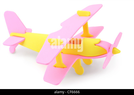 airplane yellow and pink toy isolated on white - Stock Photo