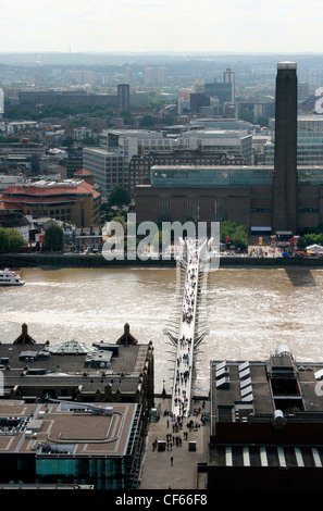 Tate Modern and the Millennium Bridge viewed from St Paul's Cathedral. - Stock Photo