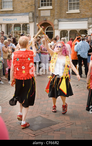 Morris dancers at the annual Sweeps Festival in Rochester. - Stock Photo