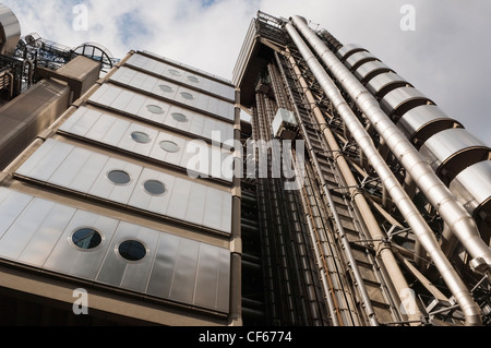 Looking up at the Lloyds Building designed by architect Richard Rogers. The building is the home of the insurance - Stock Photo