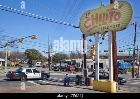 Tacos Cafe in Austin Texas USA - Stock Photo