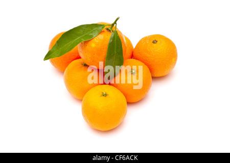 Ripe tangerines on white background - Stock Photo