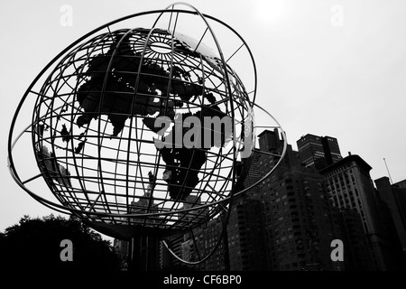 World statue at Columbus Circle in Manhattan in New York city - Stock Photo