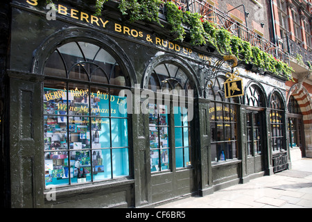 The traditional shop front of Berry brothers wine merchants in London. - Stock Photo