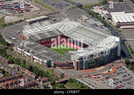 Aerial view of Manchester United FC Old Trafford Stadium - Stock Photo
