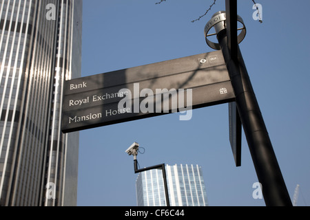 A City of London sign with directions to Bank, the Royal Exchange and Mansion House. - Stock Photo