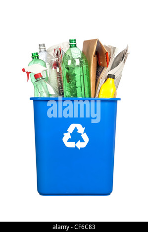 A recycling bin with plastic bottles, paper, cardboard and other plastic items isolated on white. - Stock Photo