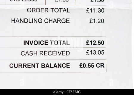 Invoice in British pounds - Stock Photo