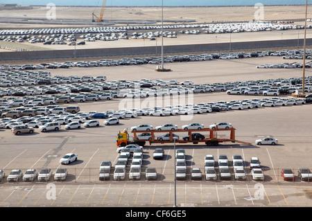 ABU DHABI UAE APRIL 15 Big warehouse cars April 15 2010 Abu Dhabi UAE Emirates national authorities have banned - Stock Photo
