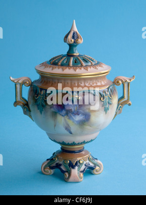 Ceramic pot pourri vase with cover, hand-painted with blue irises and produced in 1896 by the Hadley factory in - Stock Photo