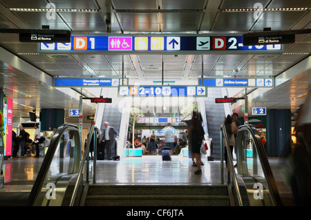 FIUMICINO ITALY AUGUST 6 At escalator inside Leonardo da Vinci Airport largest airport Italy wich named honor great - Stock Photo