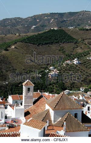 View of whitewashed village (pueblo blanco), Frigiliana, Costa del Sol, Malaga Province, Andalucia, Spain, Western - Stock Photo