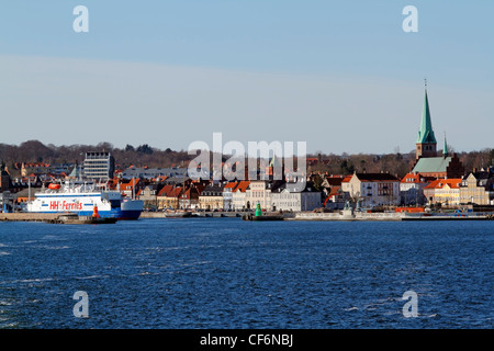 The city Helsingør, Elsinore, Denmark seen from the Øresund, the Sound.  Ferries to Helsingborg, Sweden. St Olaf - Stock Photo