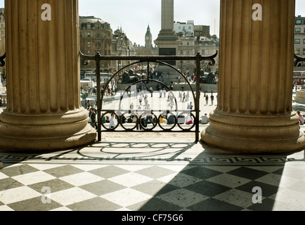 View of Trafalgar SQ with big Ben in the far distance as seen from  the National Gallery. - Stock Photo