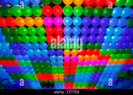 Multi-coloured patterns of LED lights in a lighting display - Stock Photo