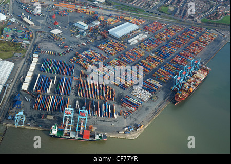 Containers on dockside at Liverpool Docks, Merseyside, North West England - Stock Photo