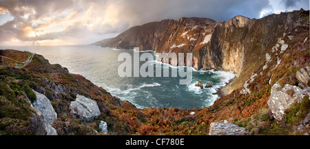 Panoramic capture of Slieve League cliffs, situated on the West coast of Donegal - Stock Photo